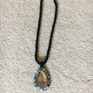 Jewelry - Shell necklace with Black Beaded Strand